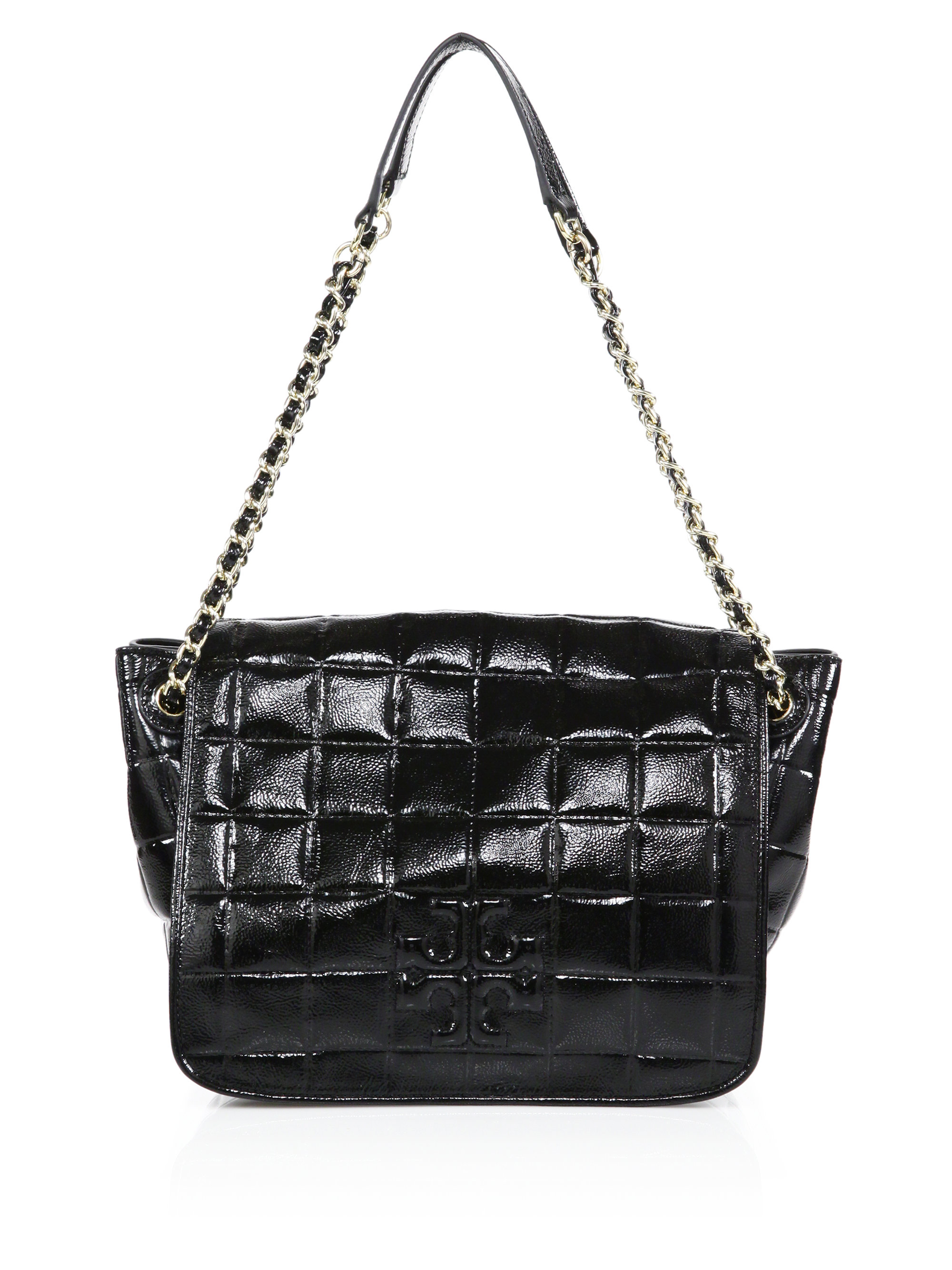 09656a8ca9d ... clearance lyst tory burch marion quilted patent leather shoulder bag in  black ac636 f8641
