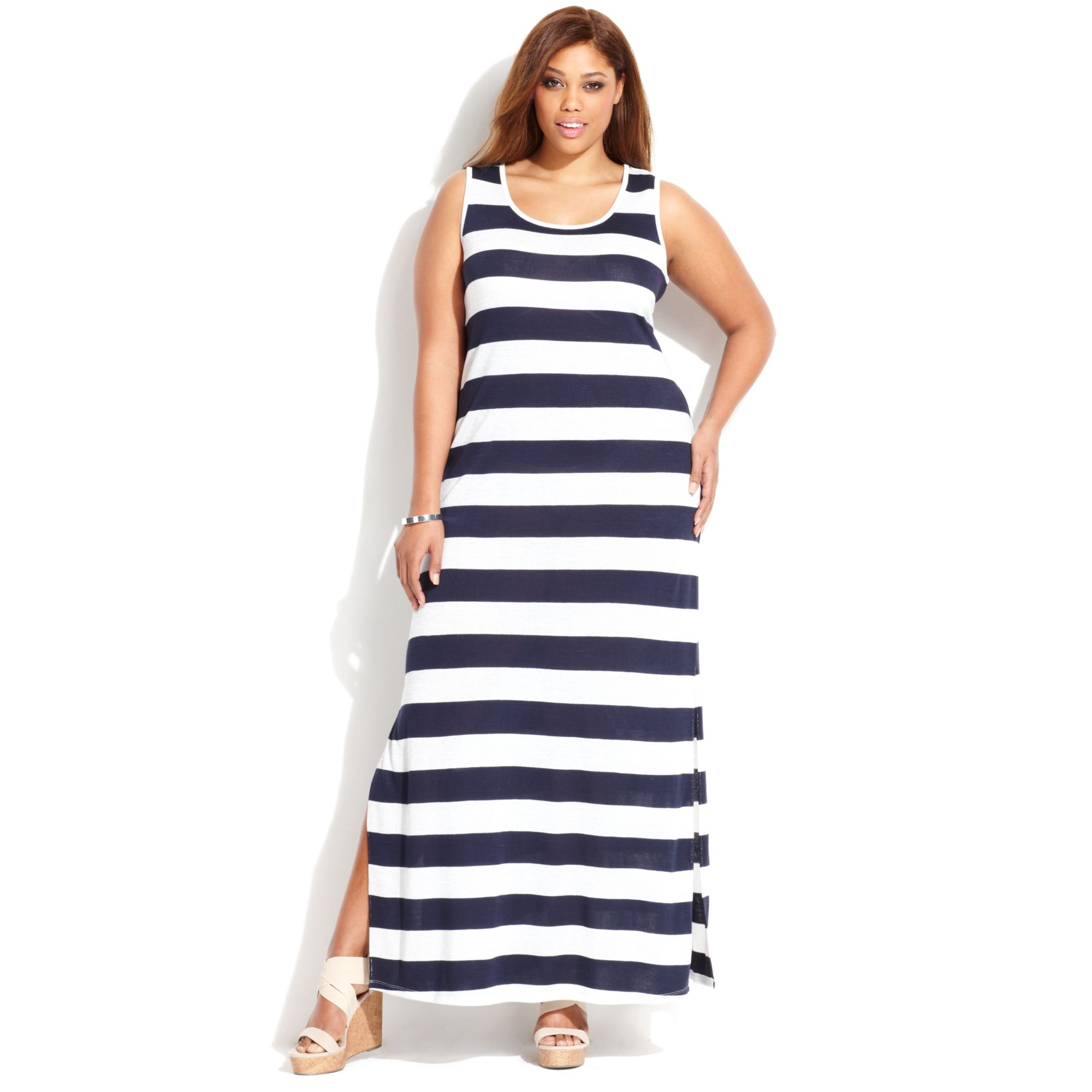 INC International Concepts Plus Size Sleeveless Striped Maxi Dress ...