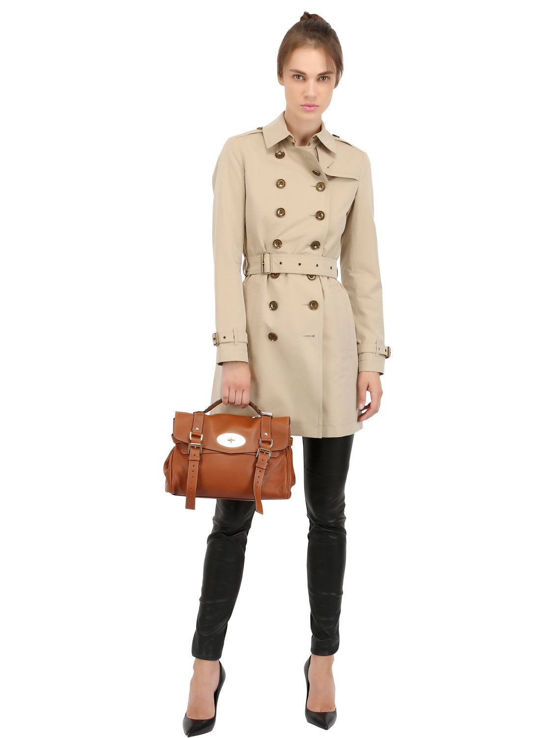 ... buy lyst mulberry alexa polished leather satchel in brown 582e5 d4cad 3c1a7c1be3c17