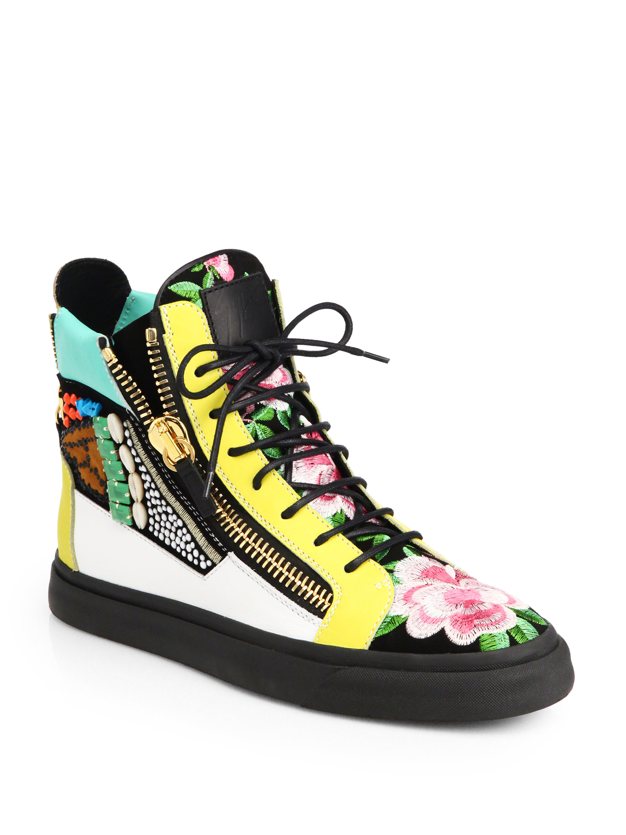015aa9db23b45 Giuseppe Zanotti Floral Mixed Media High-Top Sneakers for Men - Lyst