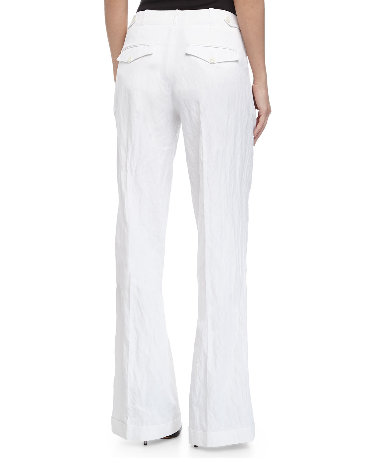 Michael kors Cuffed Wide-leg Pants in White | Lyst