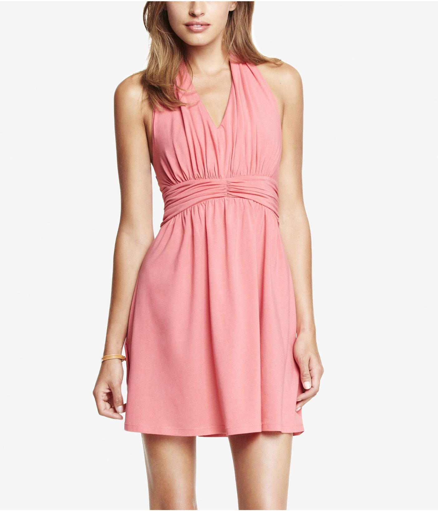 Express Light Pink Ruched Jersey Halter Dress in Pink | Lyst