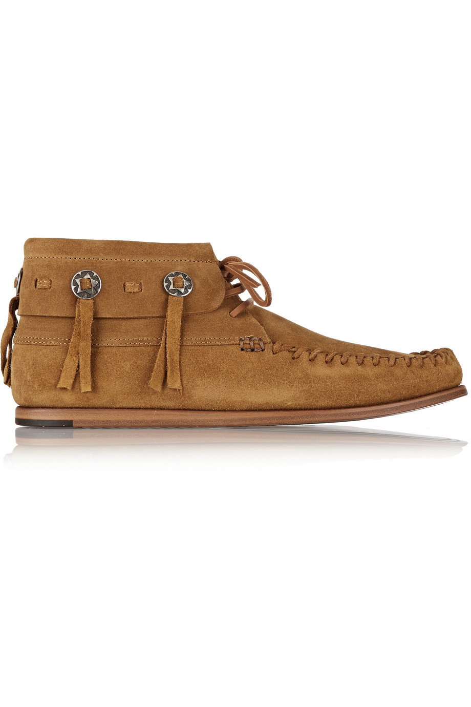 laurent suede moccasin ankle boots in brown lyst