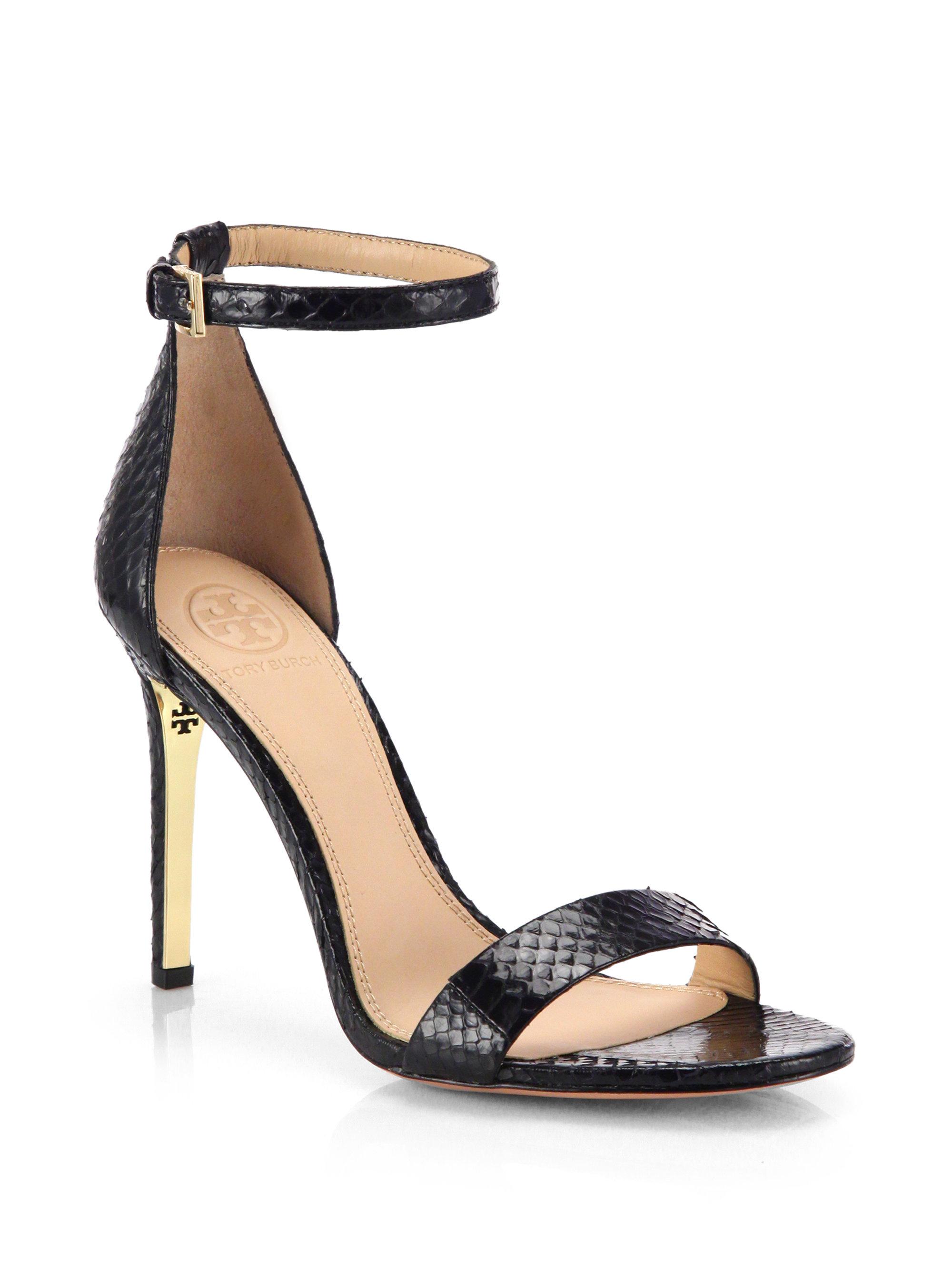 1a8c5518f99a Lyst - Tory Burch Keri Snakeskin Sandals in Black
