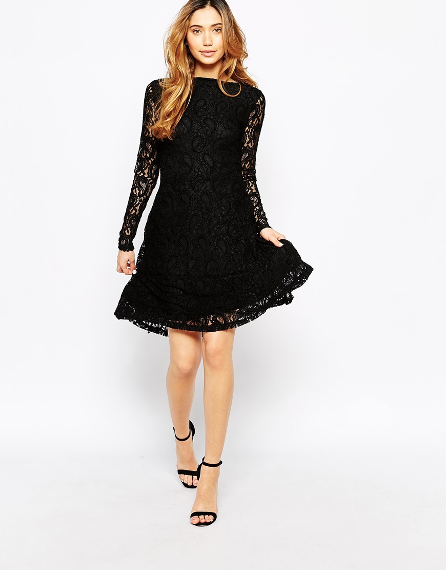 Black lace long sleeve dress skater