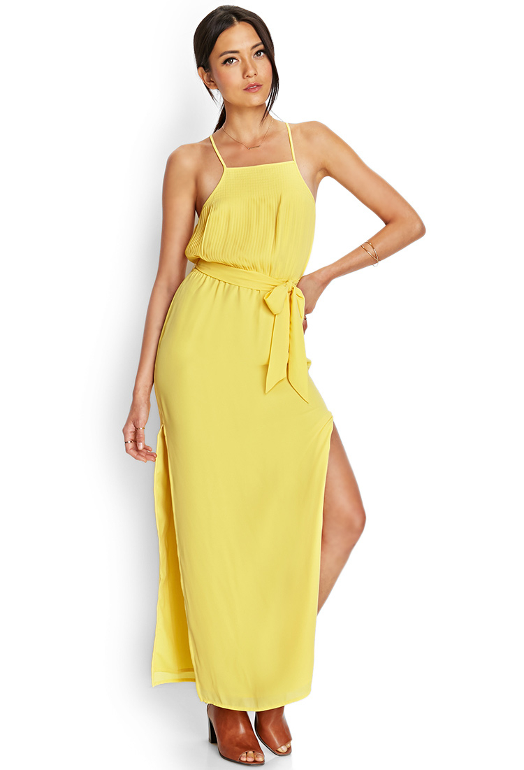 Forever 21 Pleated Moment Maxi Dress In Yellow Lyst