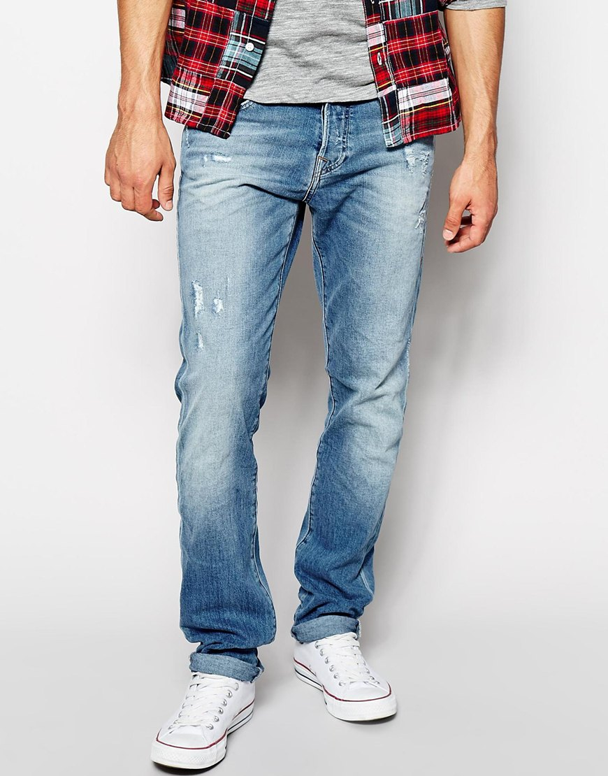 Lyst - True Religion Jeans Rocco Slim Fit Light Indigo ...