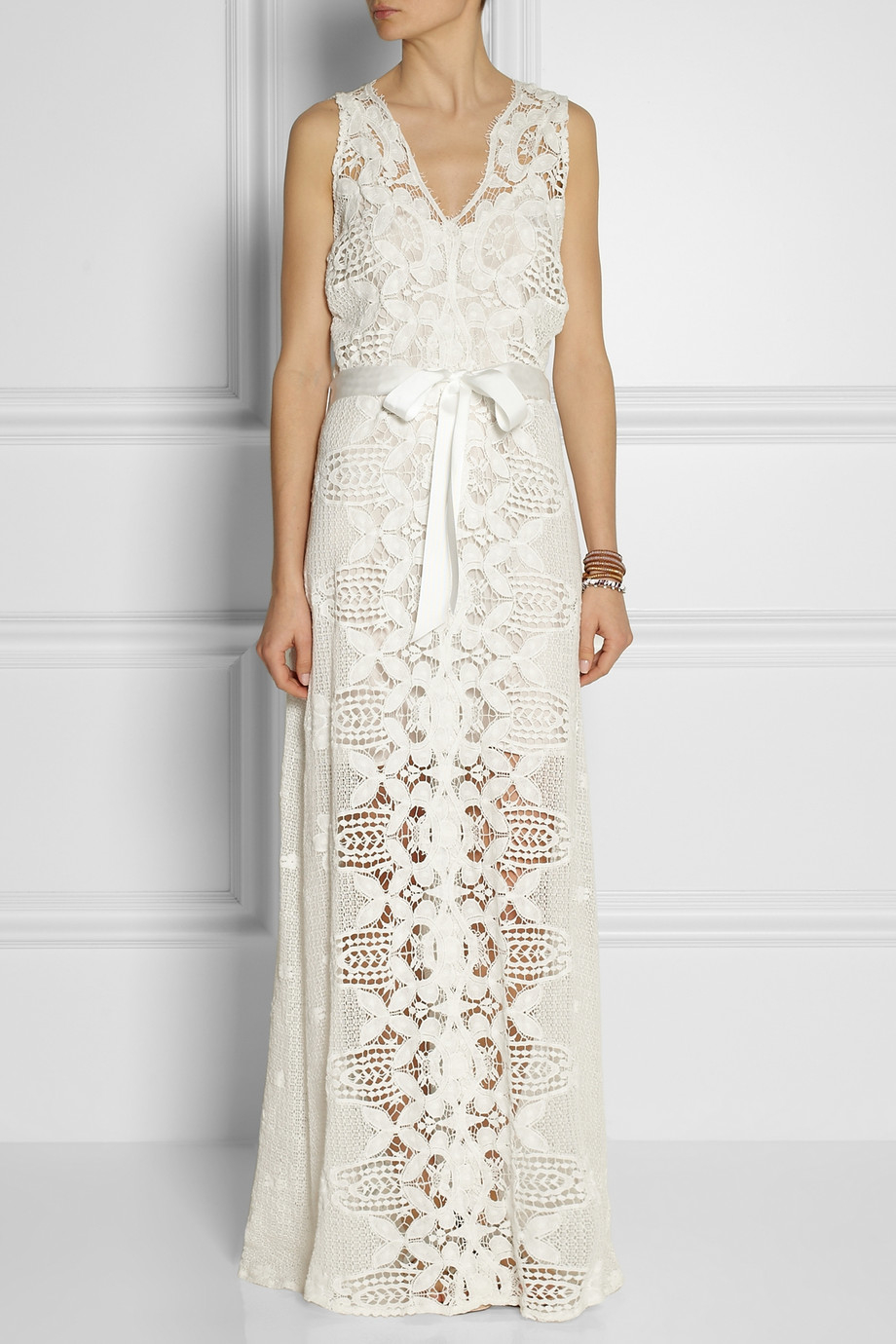 Lyst - Miguelina Eve Crocheted-Lace Maxi Dress in White