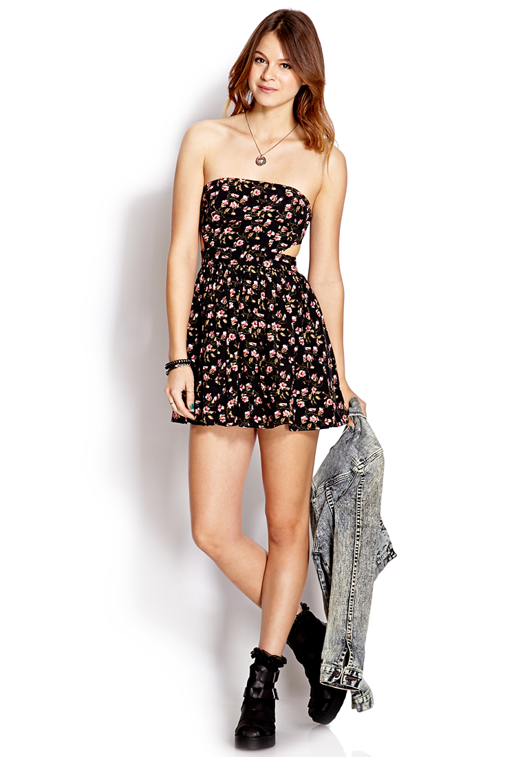 3a4298280c2 Forever 21 Mod Strapless Floral Dress in Black - Lyst