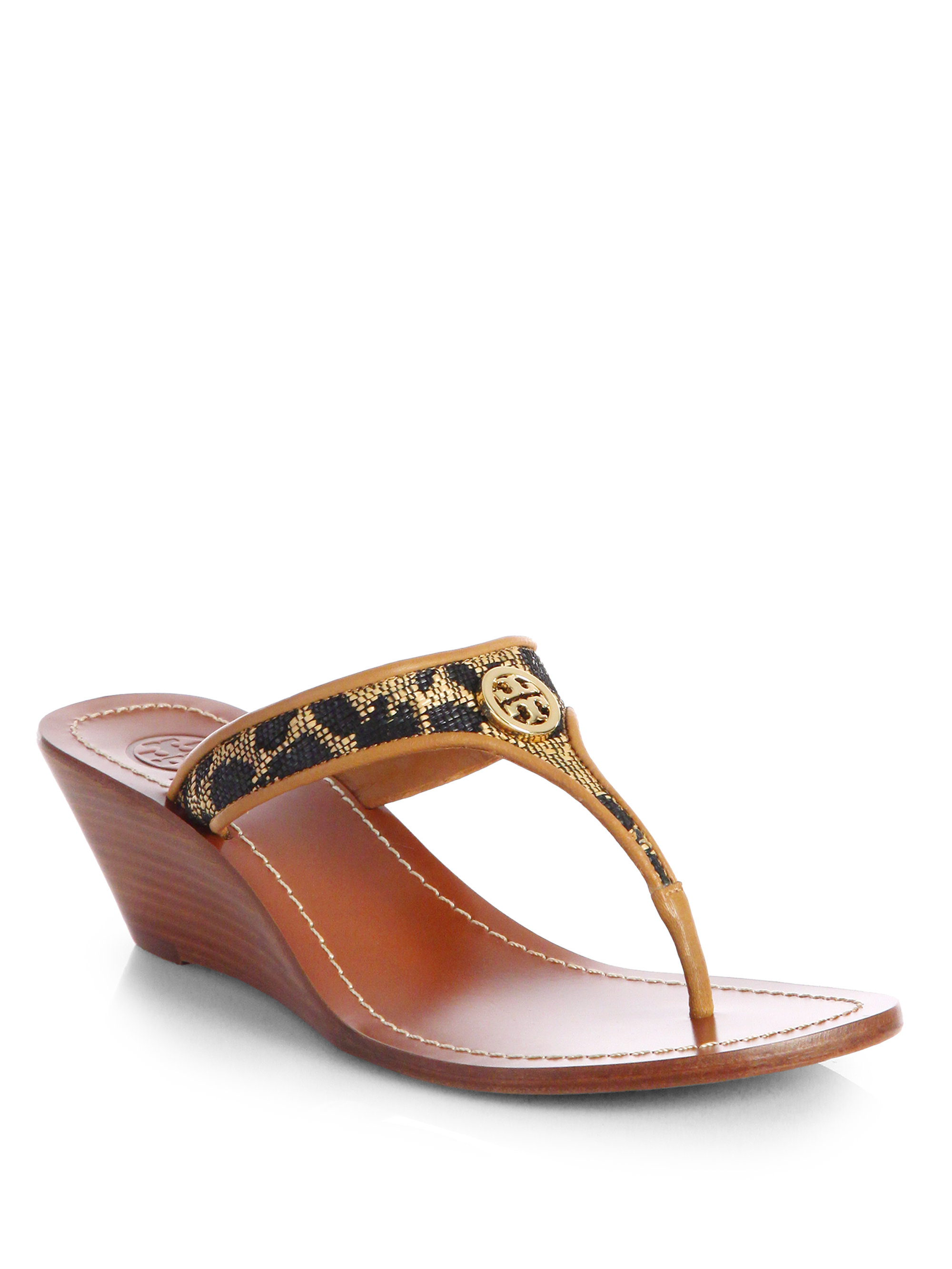 Tory Burch Cameron Leopardprint Leather Wedge Sandals In