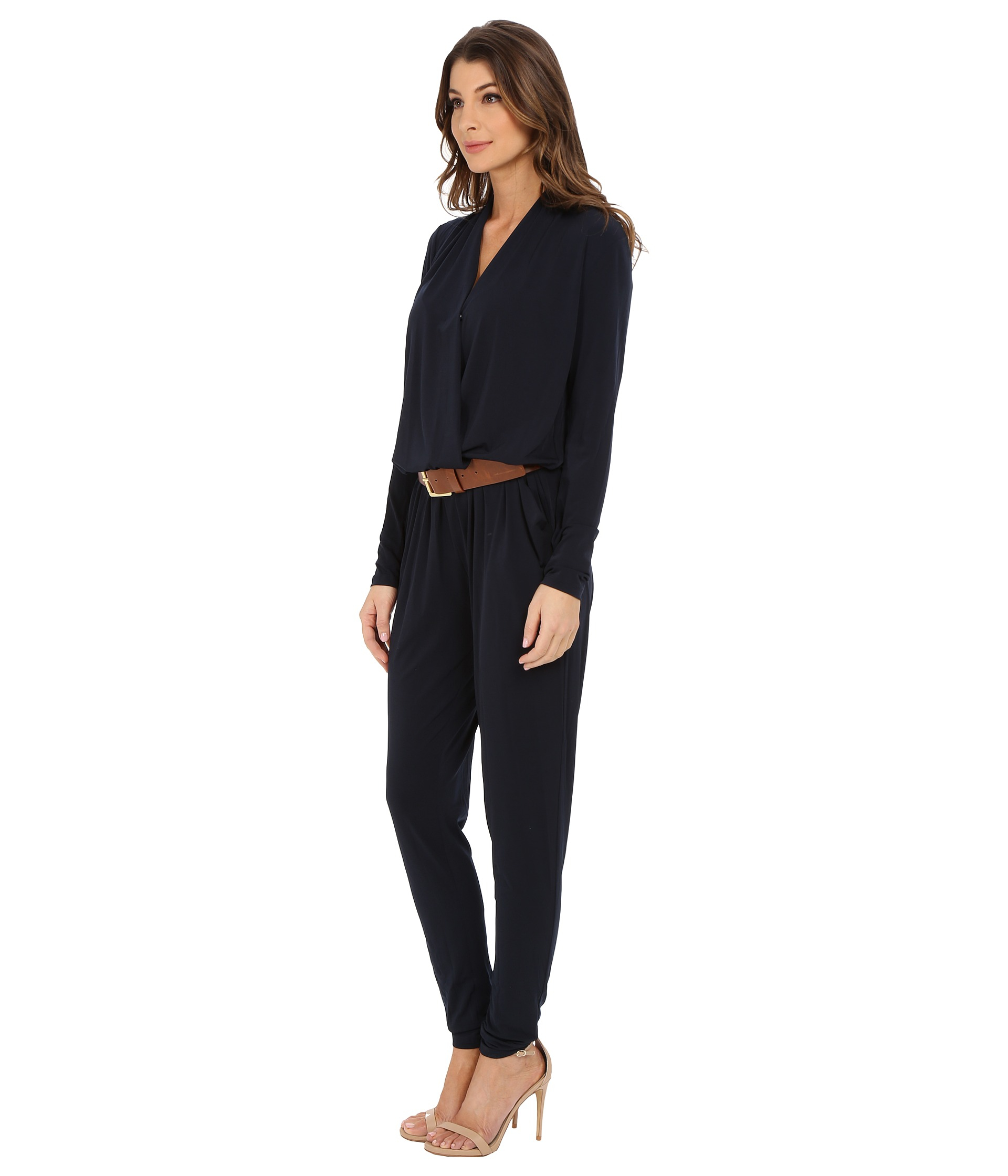 eca3caf56a6 Lyst - MICHAEL Michael Kors Belted Jumpsuit in Blue