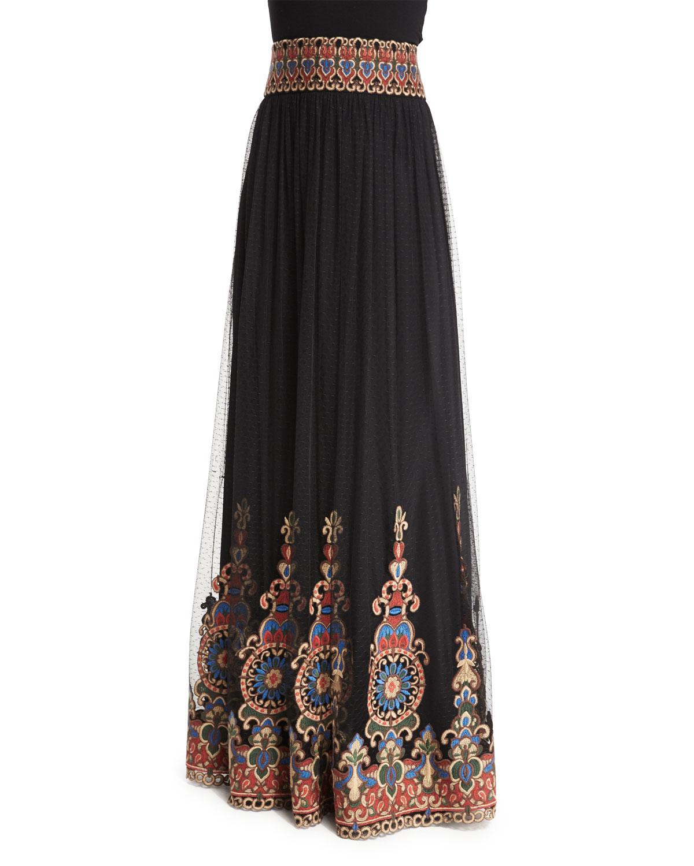 savanna embroidered tulle maxi skirt in