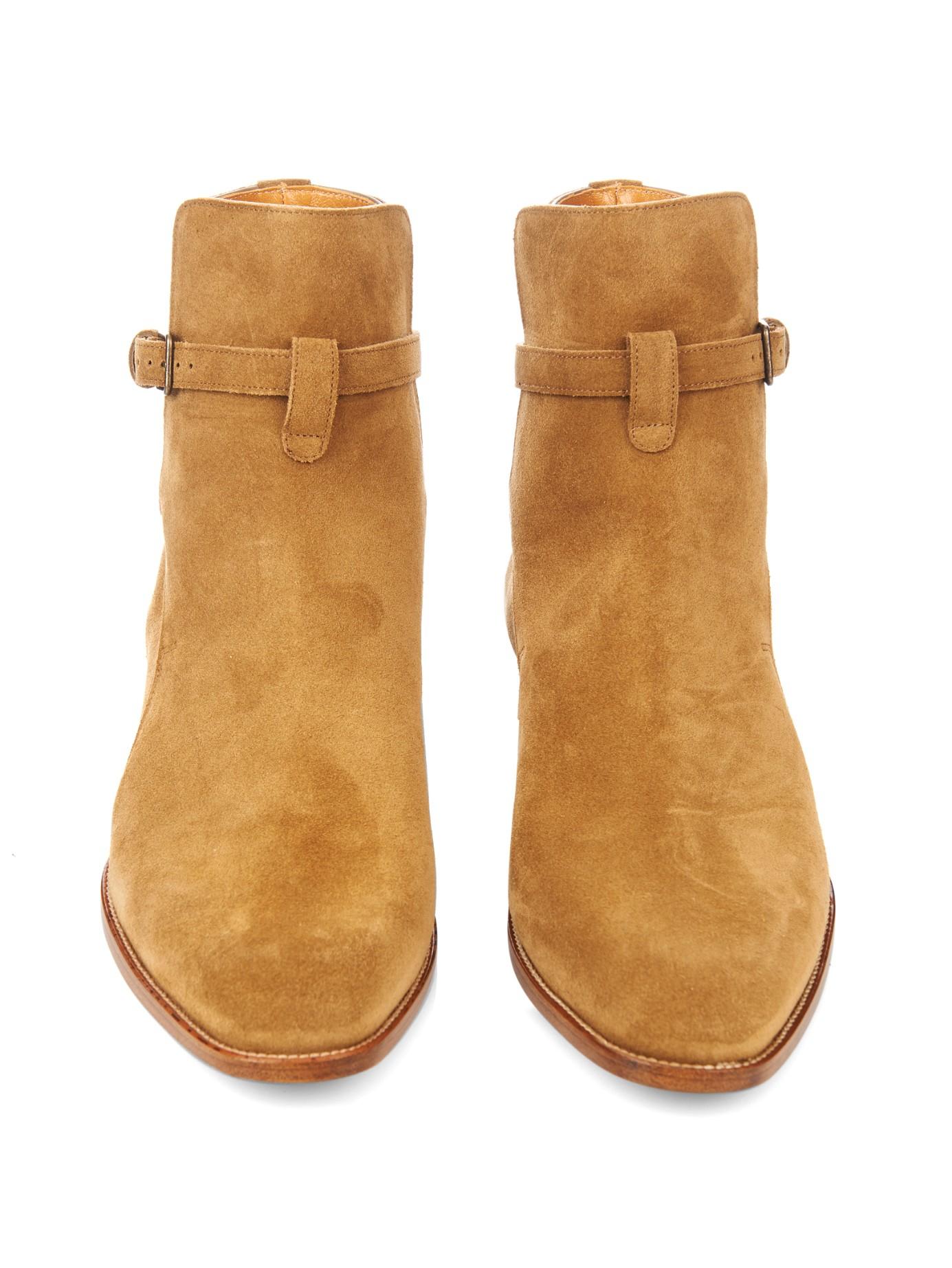 Lyst Saint Laurent Suede Chelsea Boots In Brown For Men