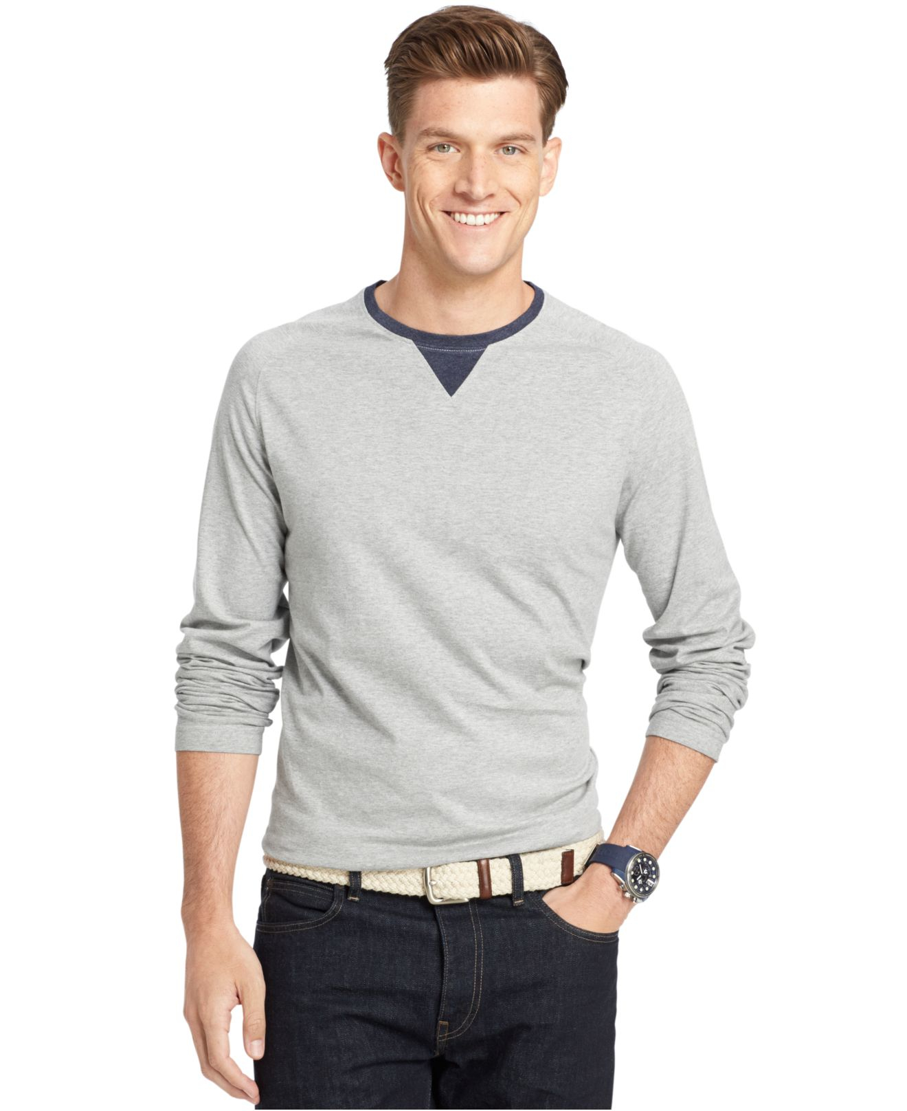 Lyst izod big and tall raglan crew neck long sleeve t for Big and tall long sleeve shirts