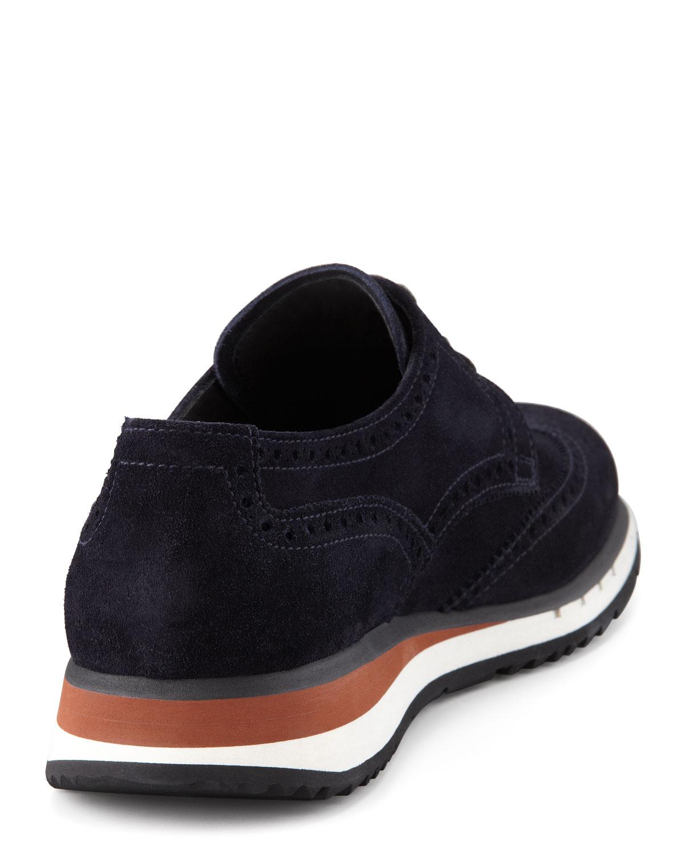 075fd4ca7d6 ... cheap lyst prada suede wingtip sneaker in blue for men 0d86d 8ef3f