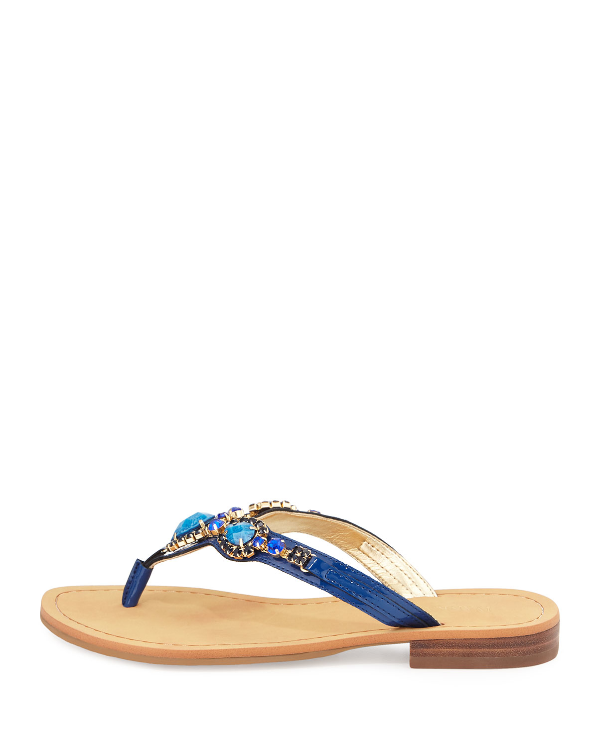Ivanka Trump Palla Jeweled Leather Thong Sandal In Blue Lyst