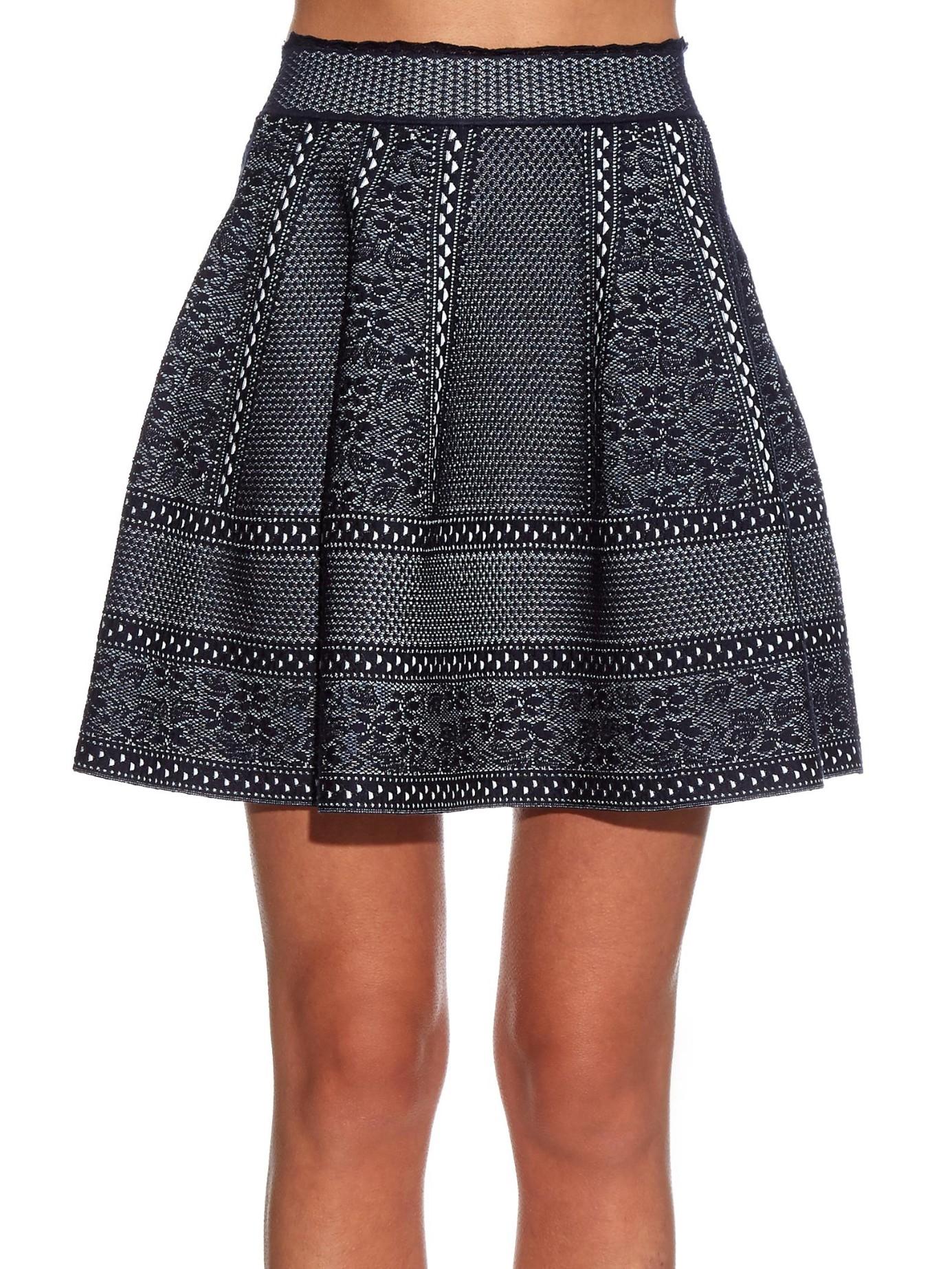 Alexander mcqueen High-waisted A-line Skirt in Blue | Lyst
