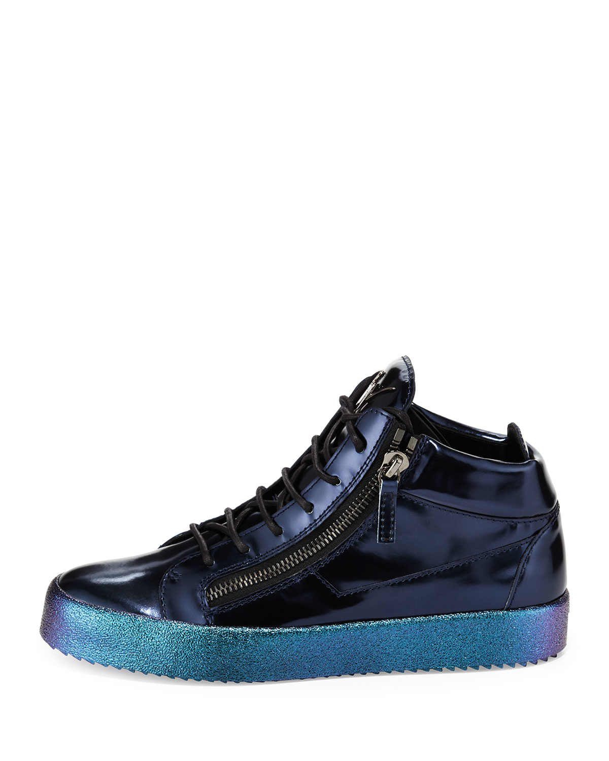 giuseppe zanotti vegas patent leather mid top sneakers in blue for men lyst. Black Bedroom Furniture Sets. Home Design Ideas