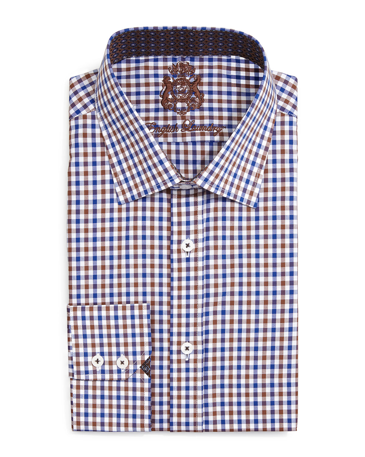 English laundry gingham check dress shirt in blue for men for Gingham french cuff shirt
