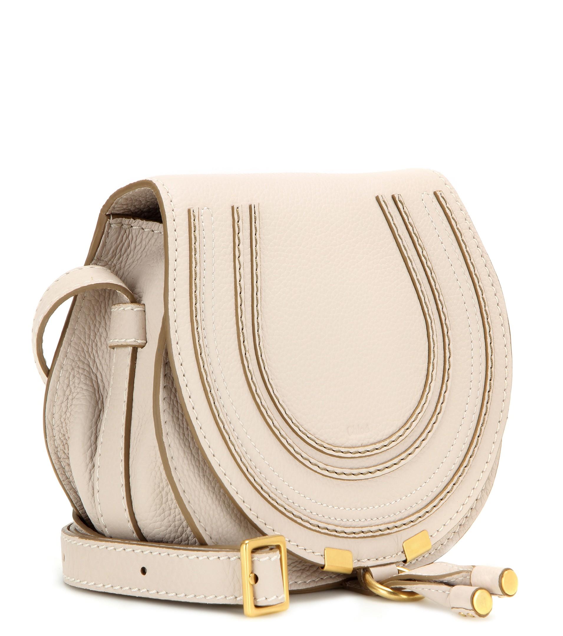 Chlo¨¦ Marcie Leather Shoulder Bag in Beige | Lyst