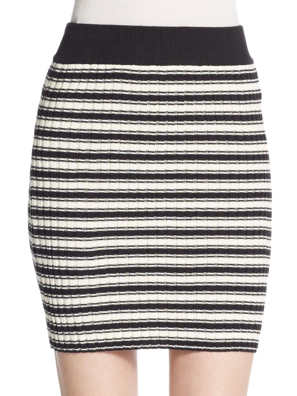 For love & lemons B2b Striped Knit Mini Skirt in White | Lyst