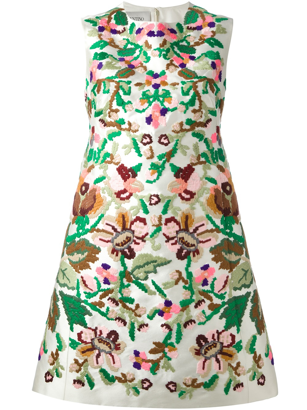Lyst valentino floral embroidered dress in white
