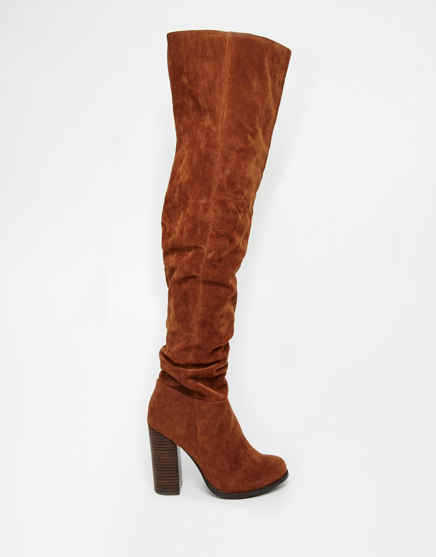 Miss kg Venice Tan Over The Knee Boots in Brown | Lyst