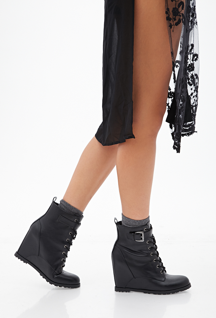 Forever 21 Lace-up Wedge Booties in Black - Lyst 20315dafe5