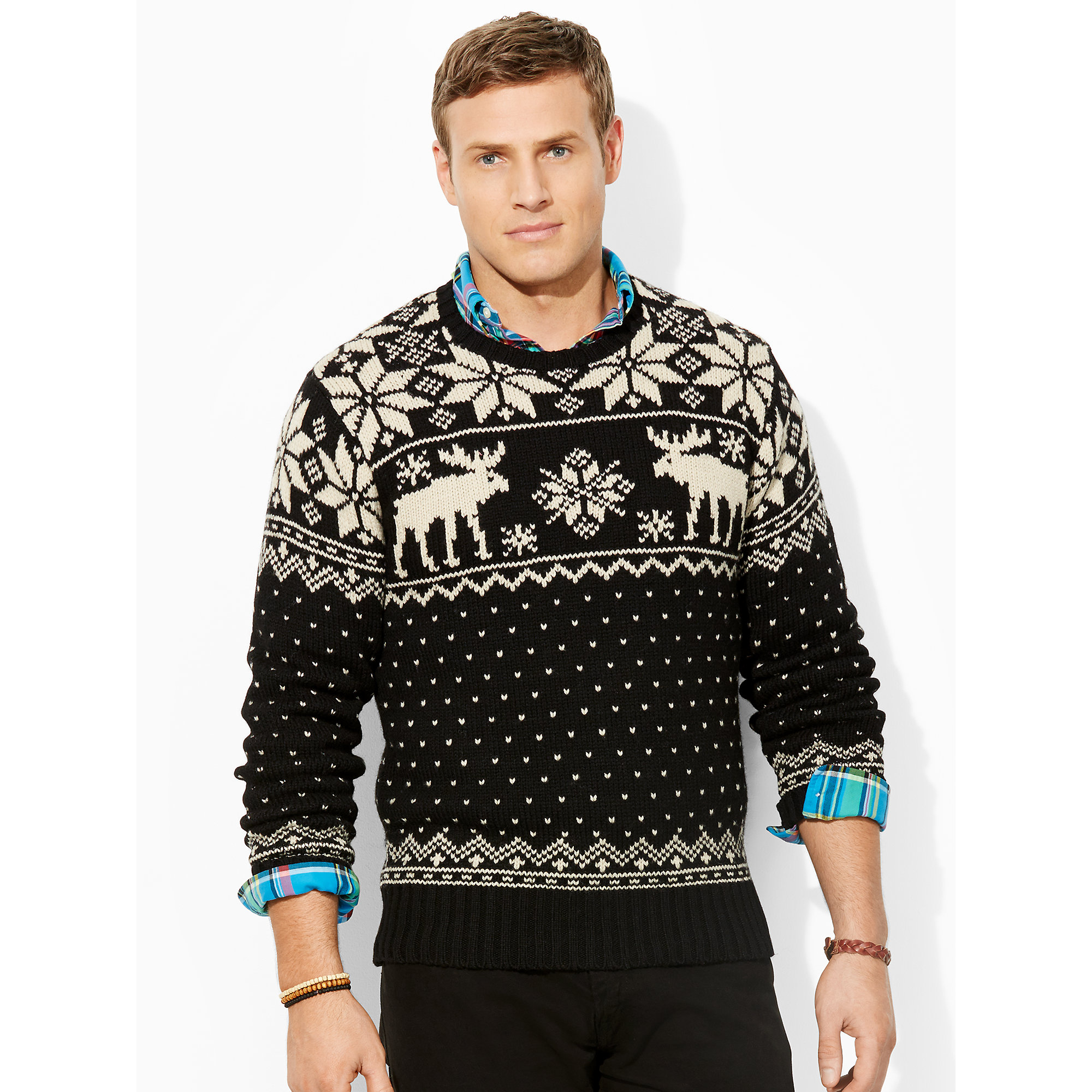 lyst ralph lauren intarsia reindeer wool sweater in black. Black Bedroom Furniture Sets. Home Design Ideas