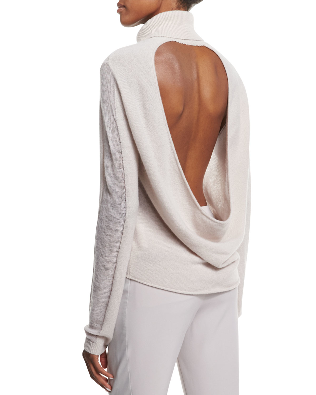 0710d2be278 Lyst - Halston Cashmere Turtleneck Sweater W  Back Cutout in White