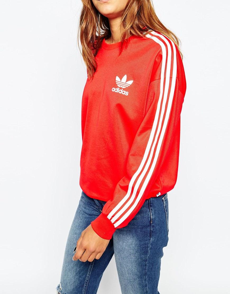 91c05de4ab5e Lyst - adidas Originals 3 Stripe Crew Neck Sweatshirt in Red