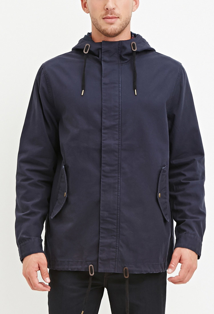 Utility Jacket Jackets And Nike: Forever 21 Hooded Utility Jacket In Blue For Men (Navy)