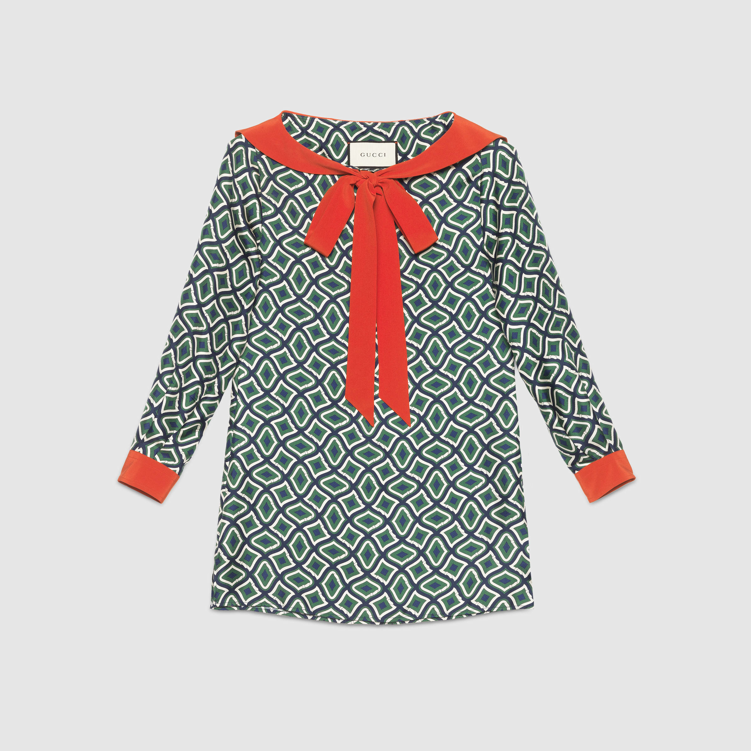 dcb72d900bbc2 Lyst - Gucci Geometric Print Silk Sailor Shirt