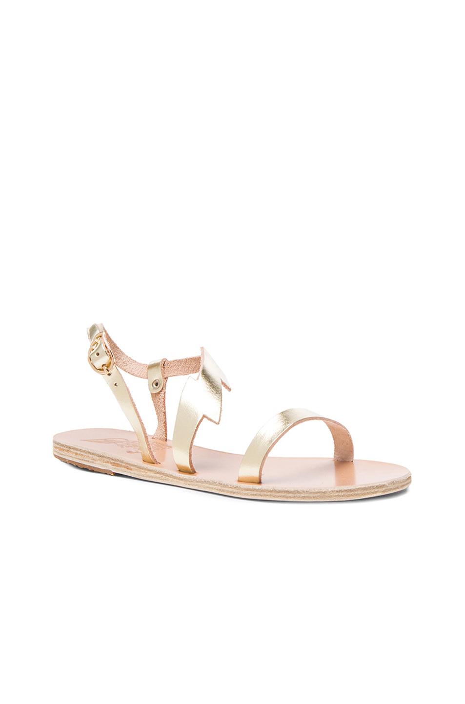 Ancient greek sandals Fotini Leather Sandals in Metallic ...
