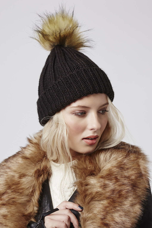 Lyst - TOPSHOP Faux Fur Pom Beanie in Black b0e23122be47