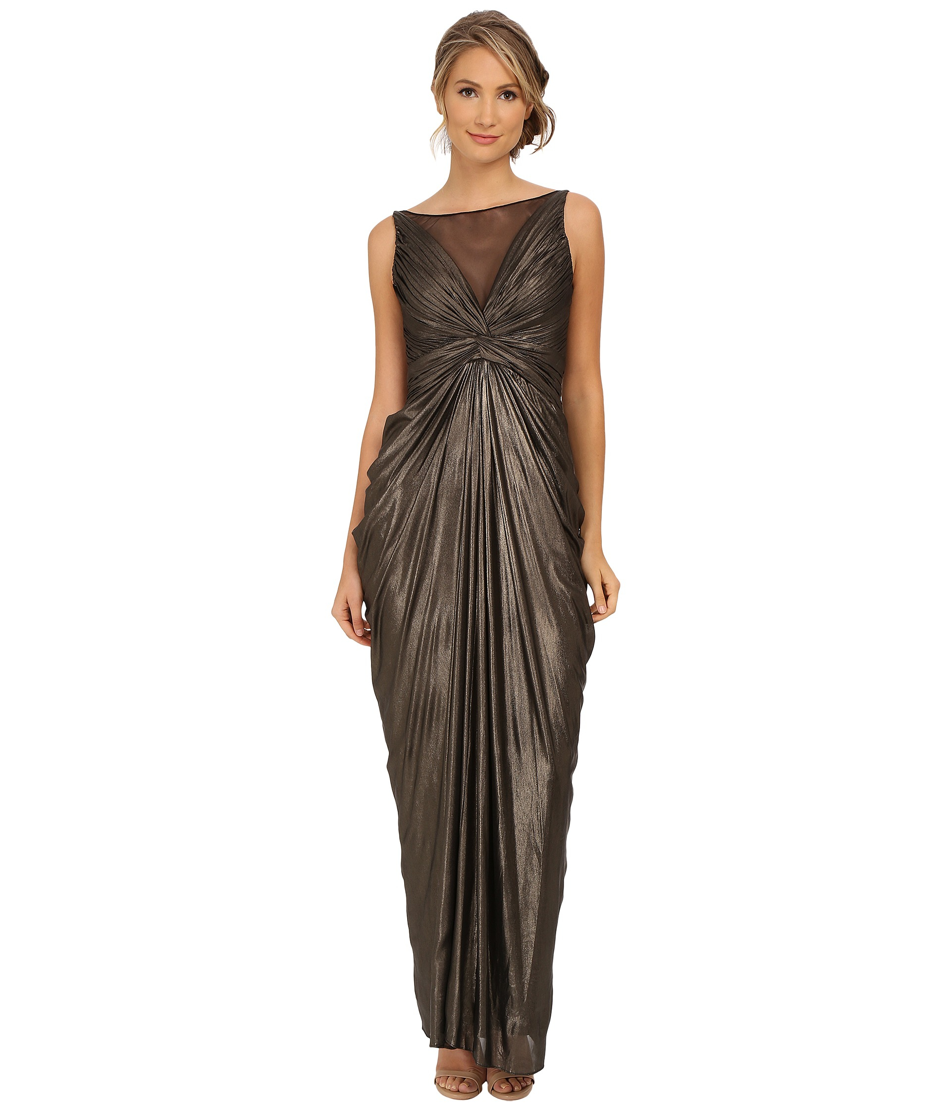 Adrianna Papell Sleeveless Shirred Liquid Jersey Gown In