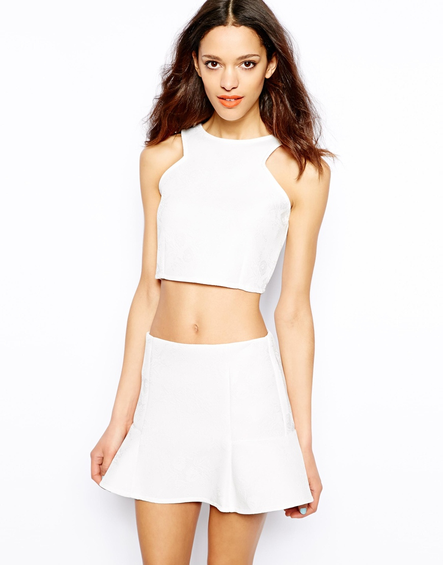 lyst pull bear jacquard jersey crop top in white. Black Bedroom Furniture Sets. Home Design Ideas