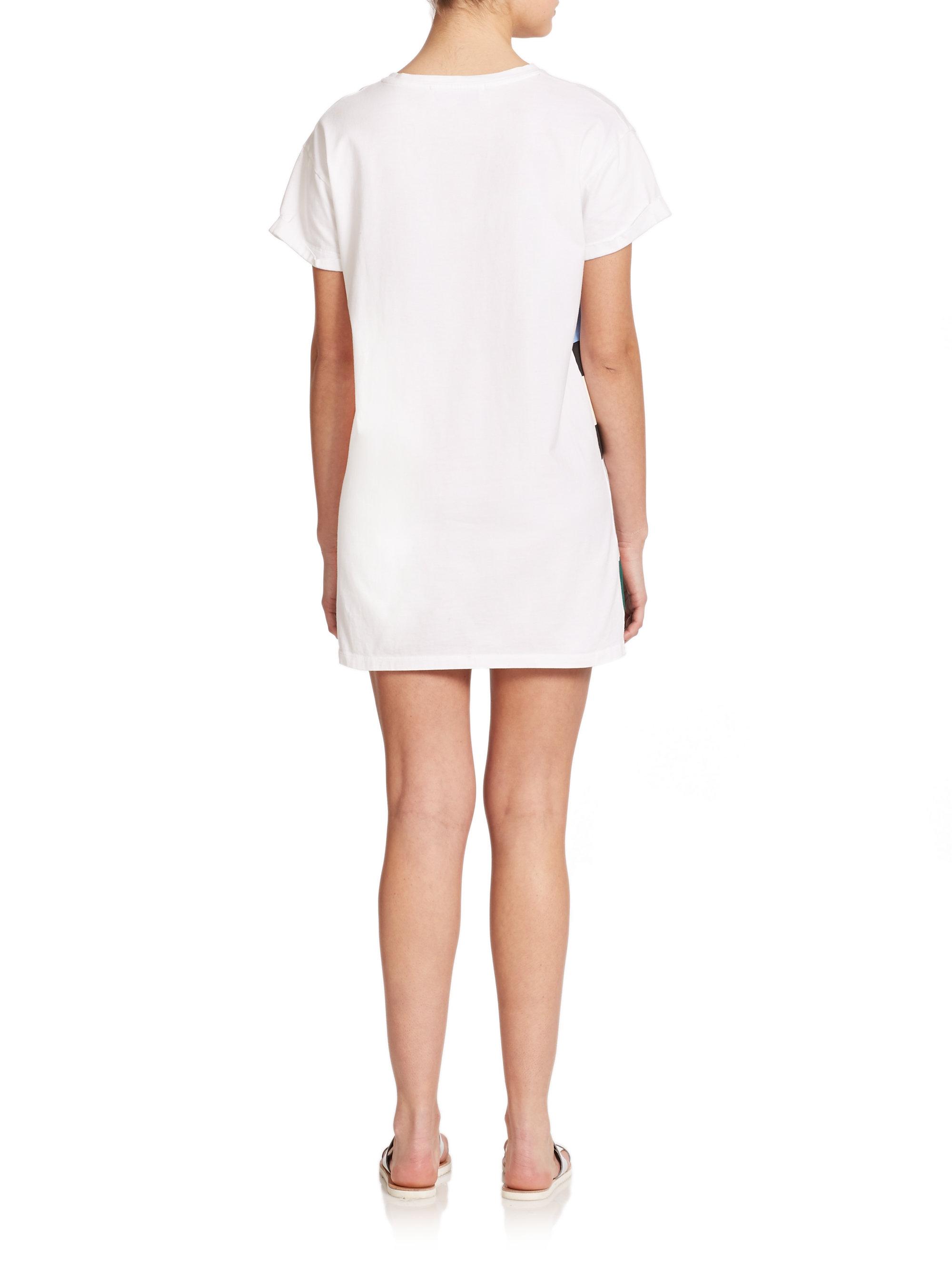 Être cécile Striped Cotton T-Shirt Dress in White | Lyst