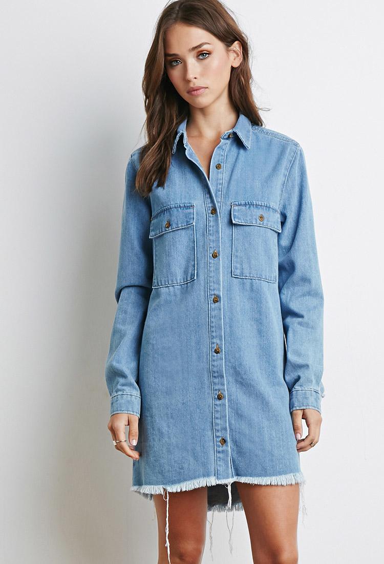 782942edff0a Lyst - Forever 21 Frayed Denim Shirt Dress in Blue