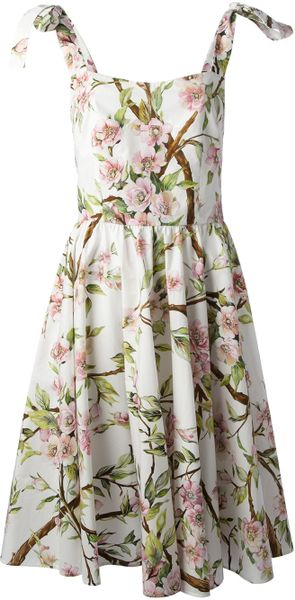 Dolce & Gabbana Flared Floral Print Dress in Floral (white)