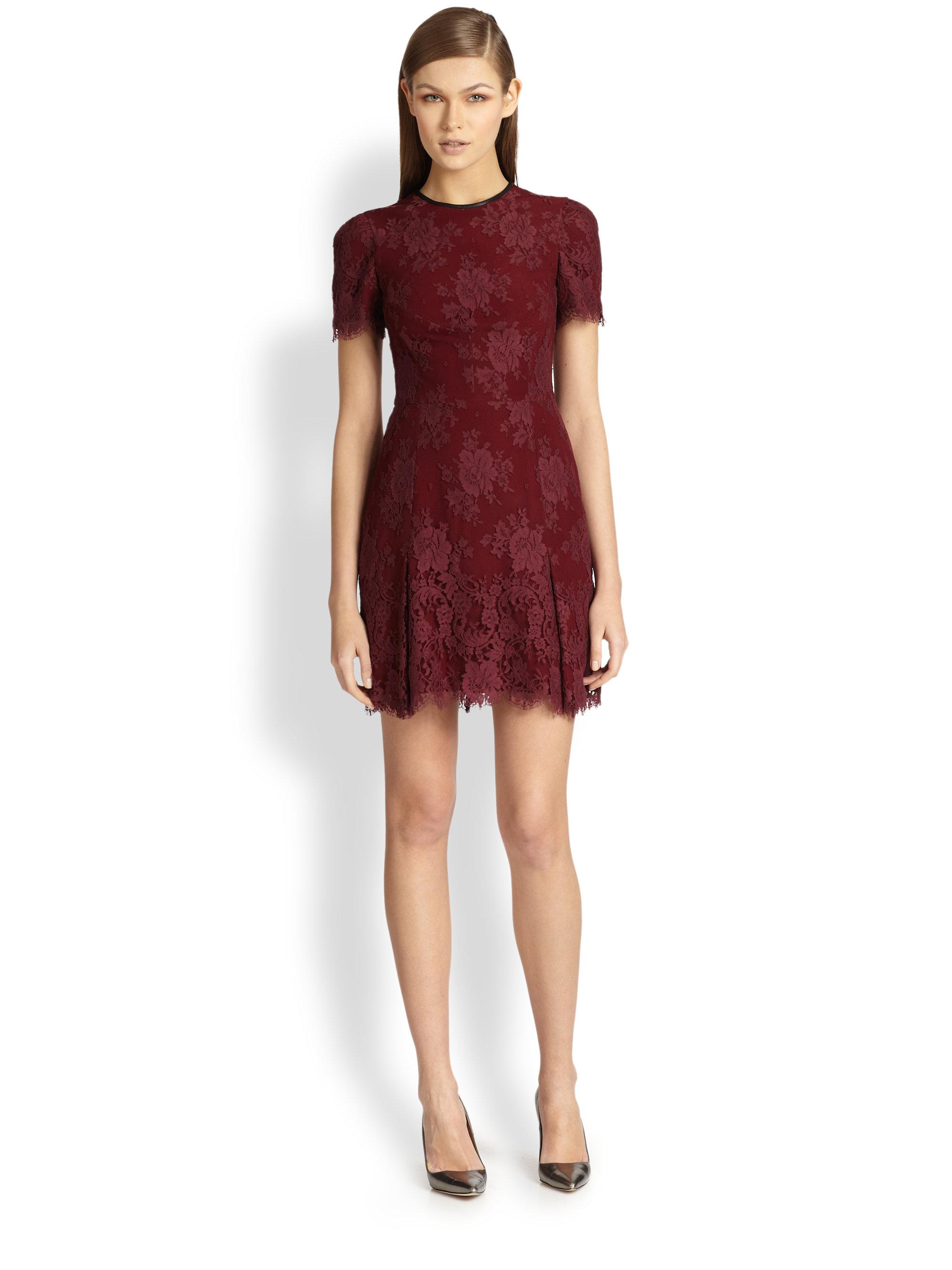 Erdem Aubrey Lace Mini Dress in Red - Lyst