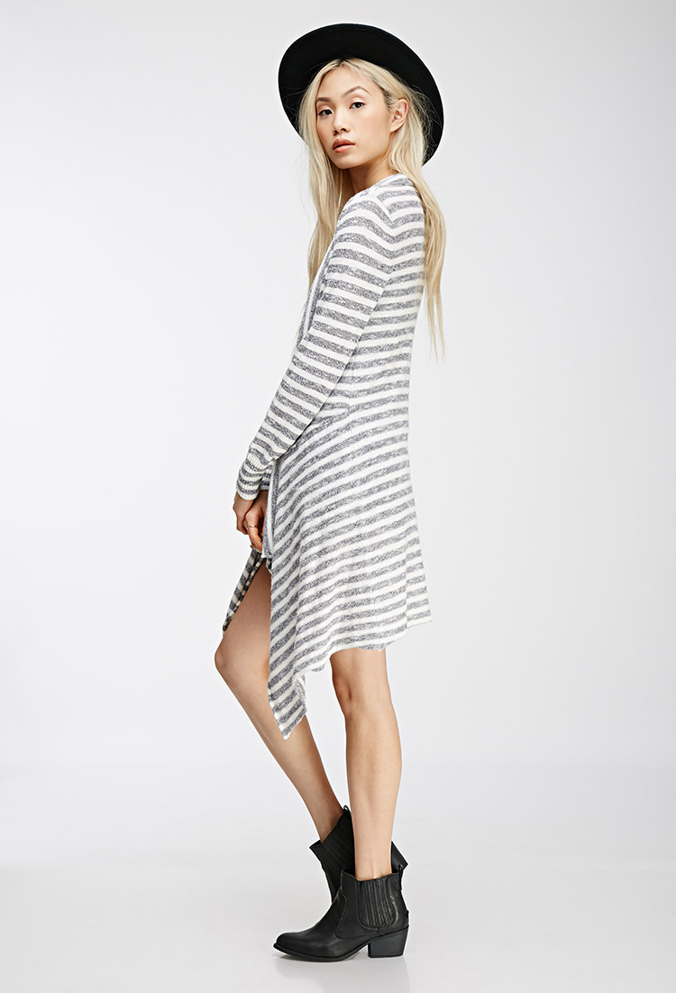 Forever 21 Longline Striped Cardigan in Gray | Lyst
