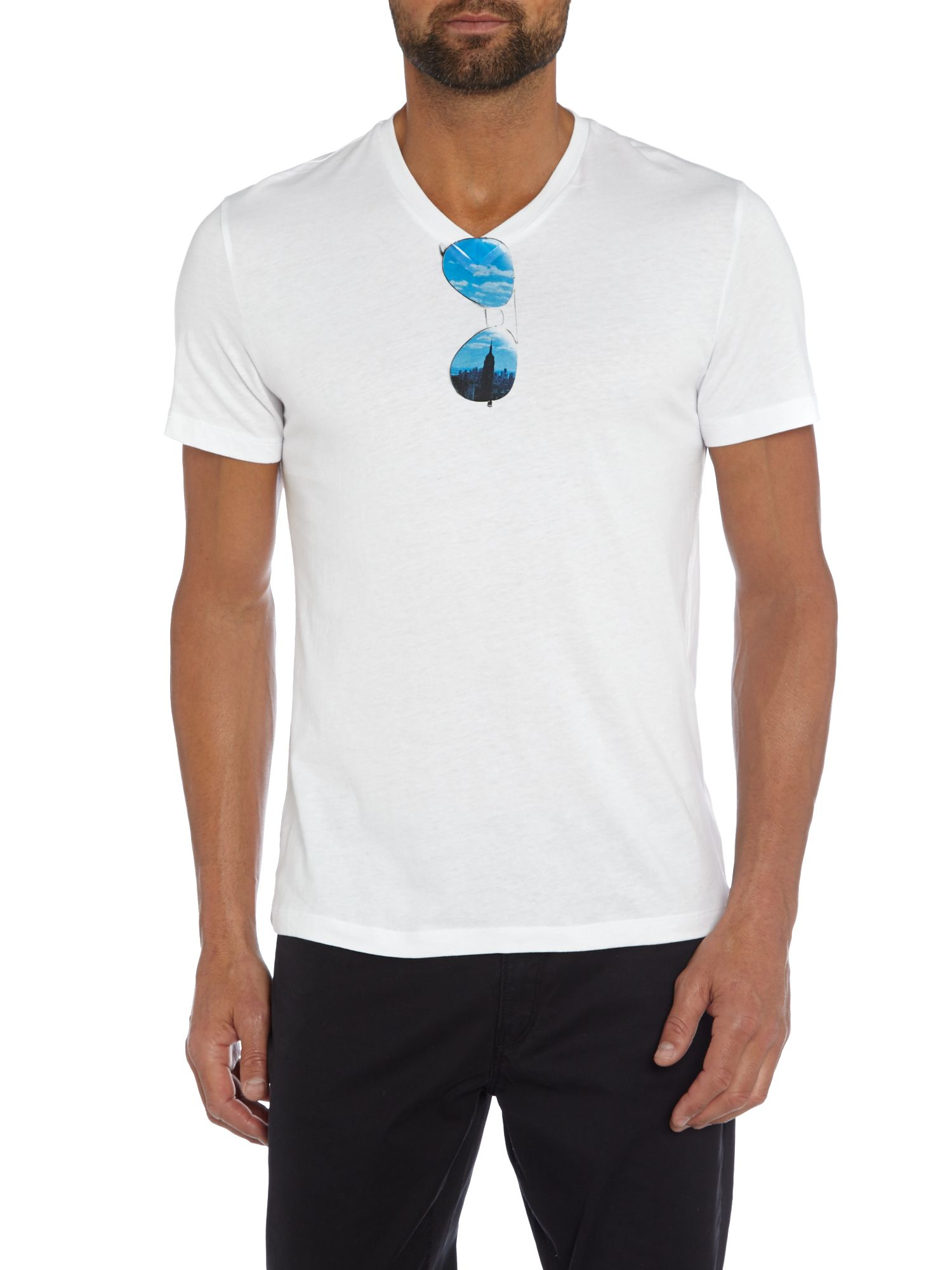 michael kors sunglasses graphic v neck t shirt in white for men lyst. Black Bedroom Furniture Sets. Home Design Ideas