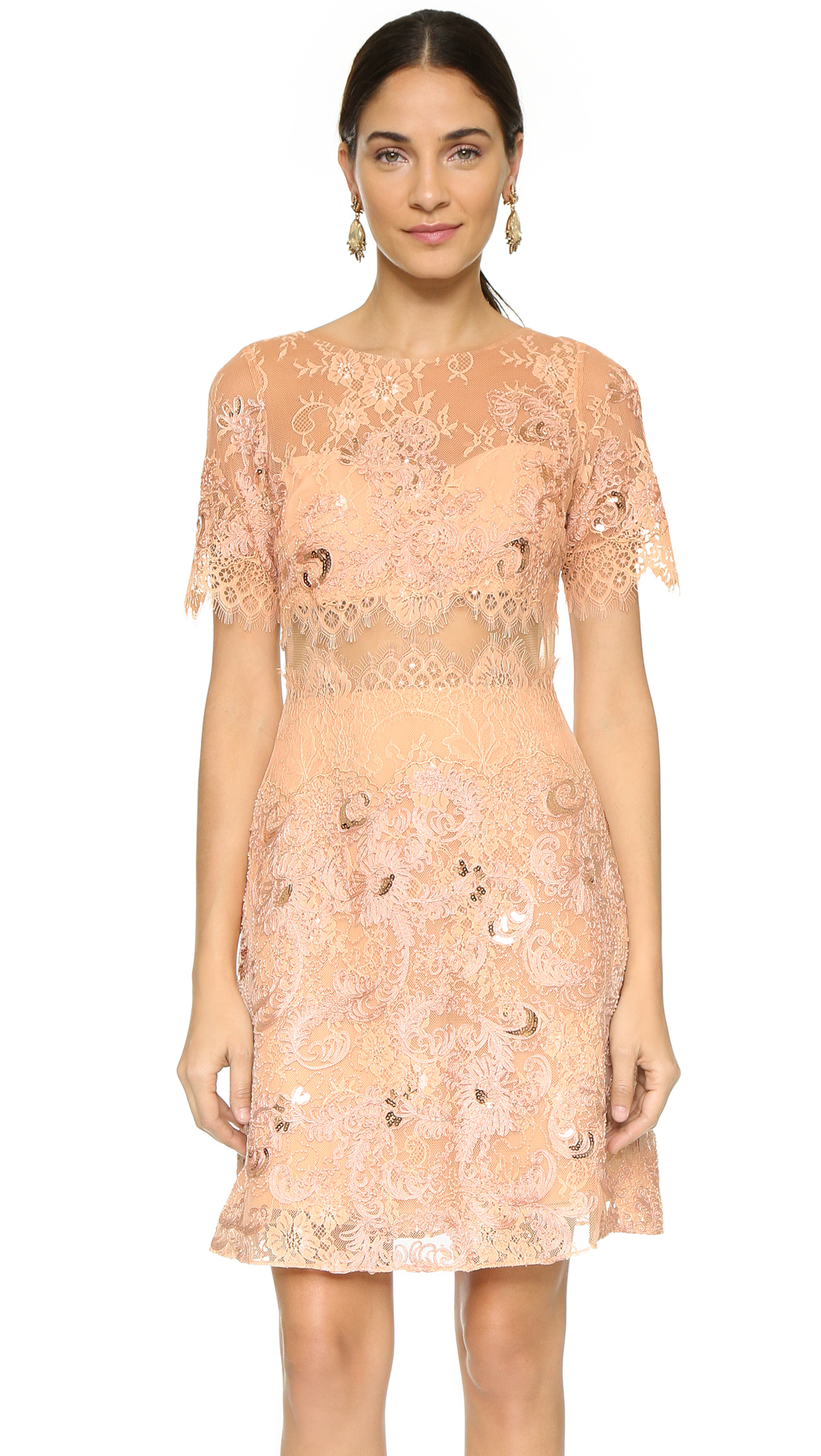 Notte by marchesa Short Sleeve Dress in Pink  Lyst
