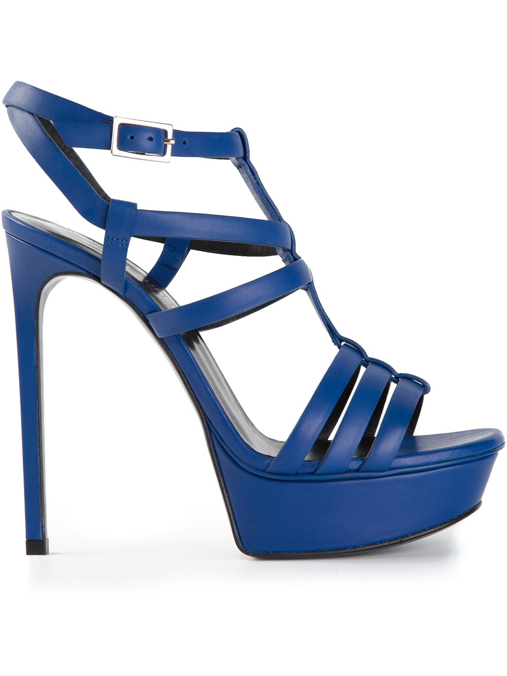 Saint laurent High Heel Sandals in Blue | Lyst