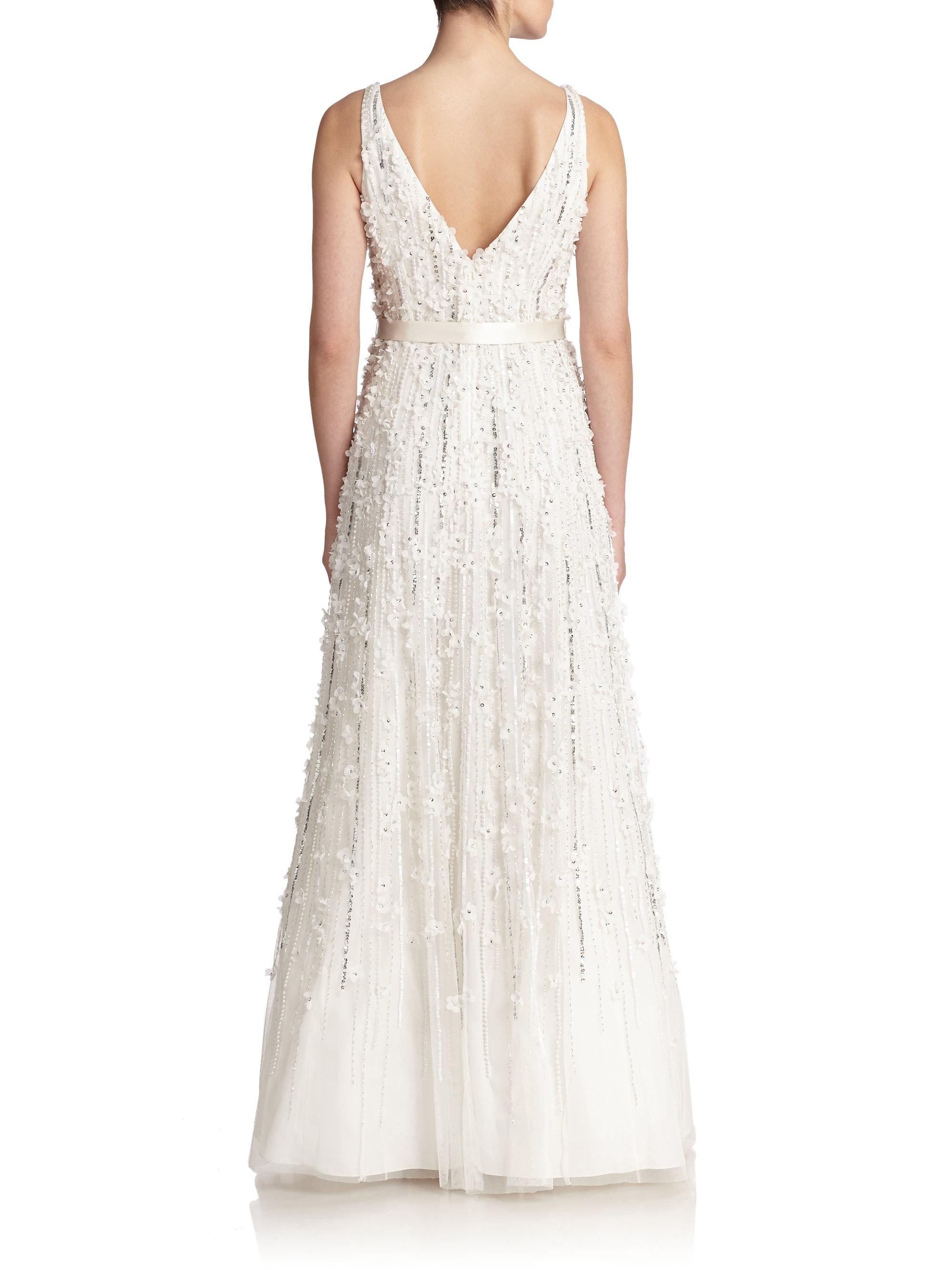 0a89ef83bde0 Lyst - Basix Black Label Flower Appliqué Satin Gown in White