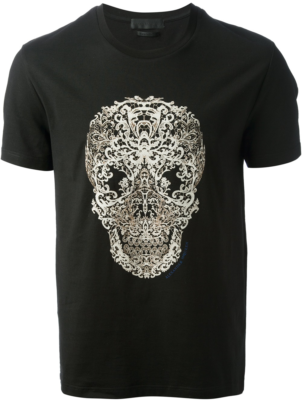 Alexander Mcqueen Lace Skull Print Tshirt in Black for Men ...