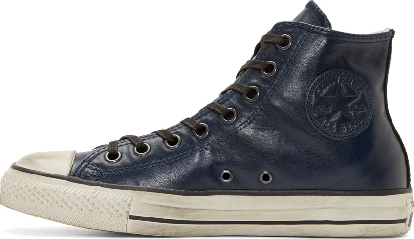 converse blue leather