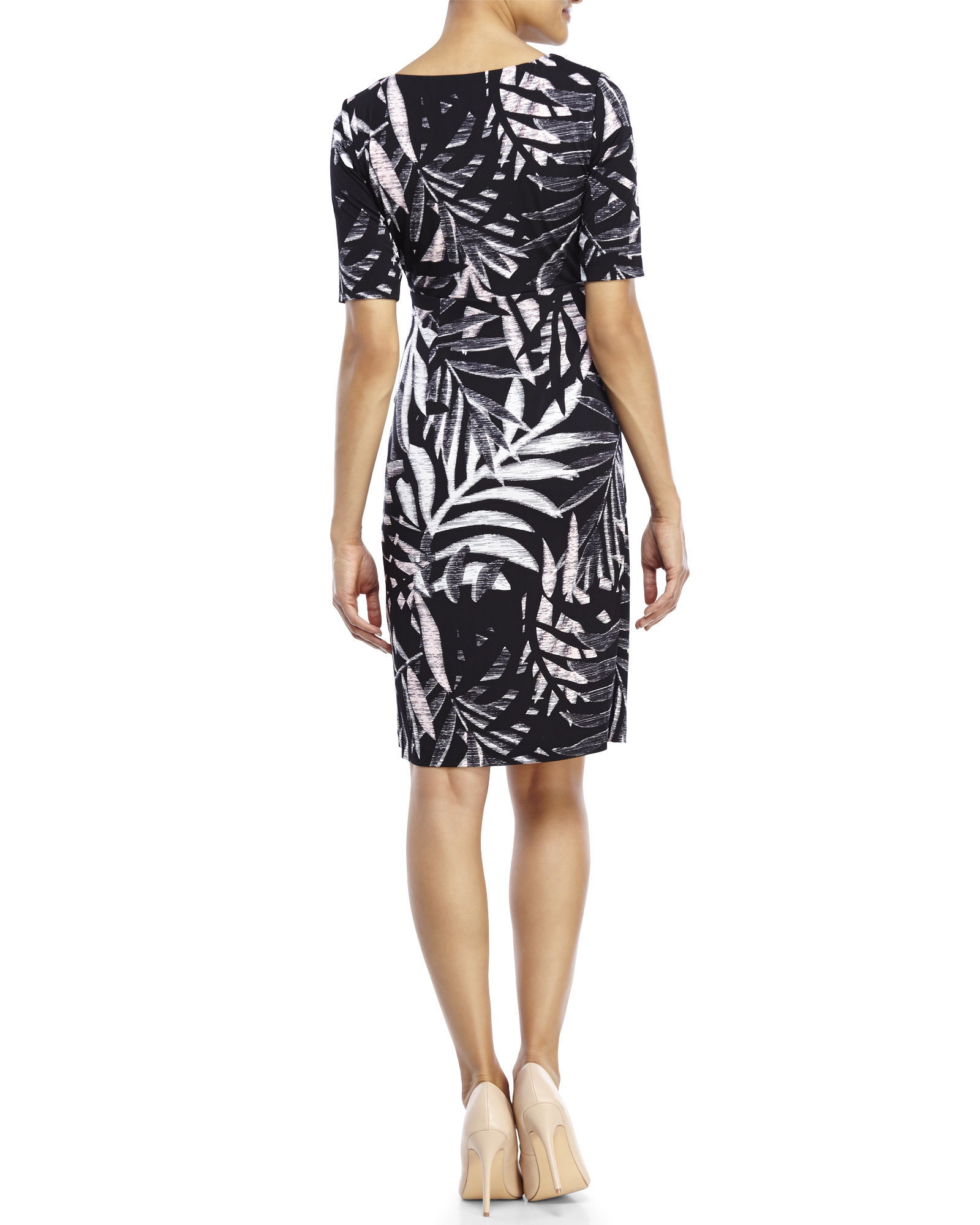 Lyst Connected Apparel Palm Print Sheath Dress In White