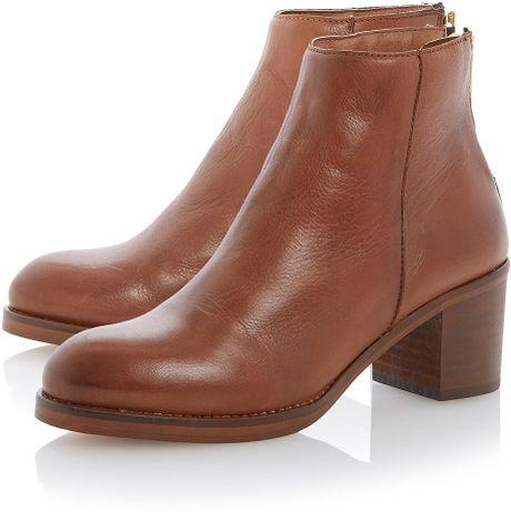 topshop packer back zip block heel ankle boots by dune in